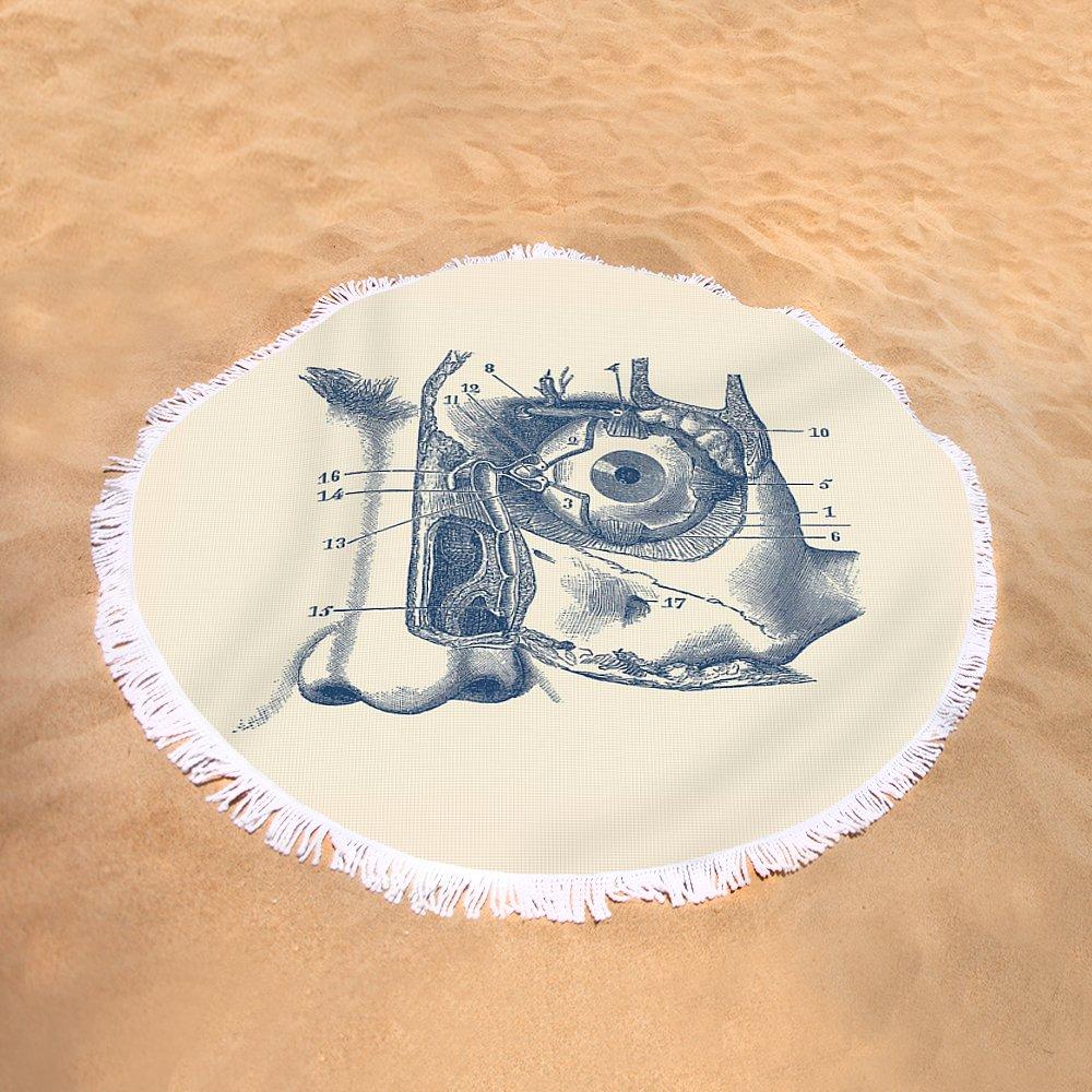Human Eye And Tear Duct Diagram - Vintage Anatomy Round Beach Towel ...