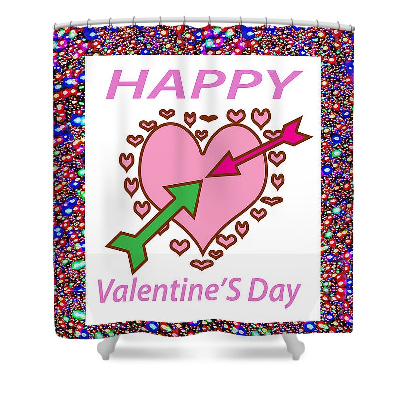 Happy Valentine's Day Greeting Card Shower Curtain featuring the mixed media    Happy Valentine's Day by Navin Joshi