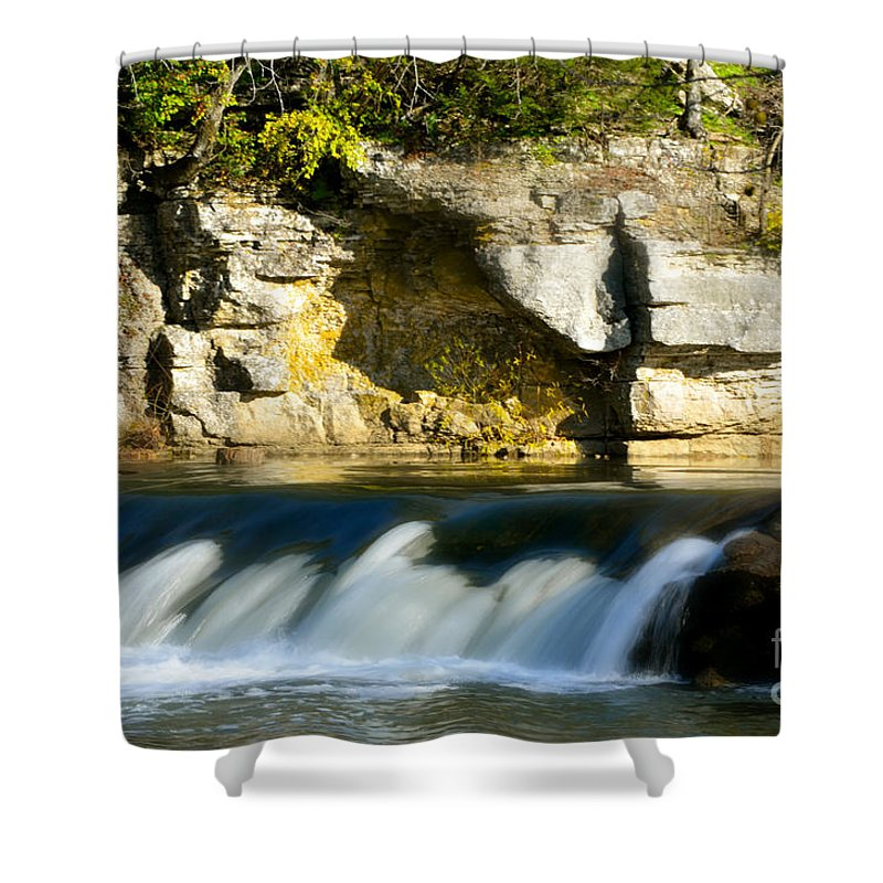 Landscape Shower Curtain featuring the photograph A Quiet Place Waterfall by Peggy Franz