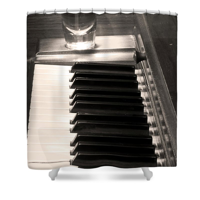 Piano Shower Curtain featuring the photograph A Shot Of Bourbon Whiskey And The Bw Piano Ivory Keys In Sepia by James BO Insogna