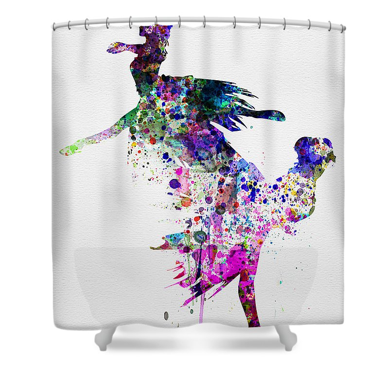 Ballet Shower Curtain featuring the painting Ballet Watercolor 3 by Naxart Studio