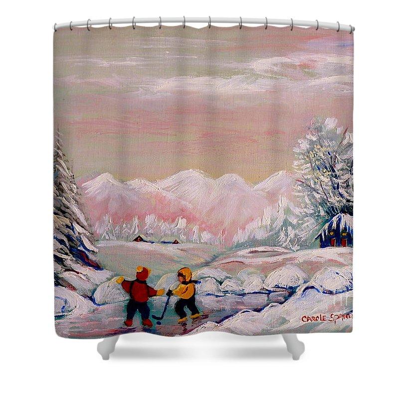Beautiful Winter Fairytale Shower Curtain featuring the painting Beautiful Winter Fairytale by Carole Spandau