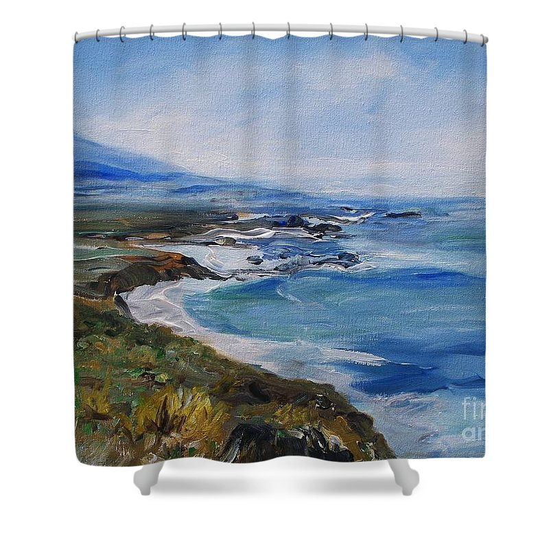 California Coast Shower Curtain featuring the painting Big Sur Coastline by Eric Schiabor