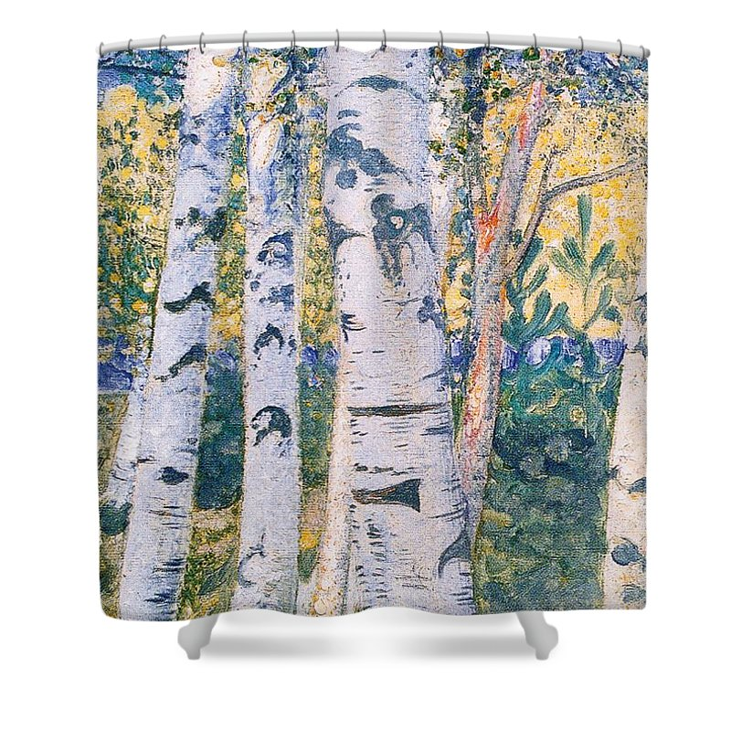 Silver Birch Birches Sweden Tree Scandinavian Shower Curtain Featuring The Painting