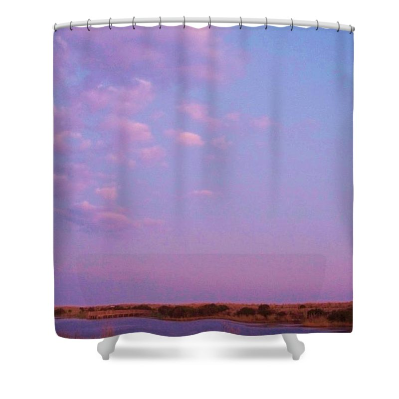 Cape May Point Shower Curtain featuring the photograph Cape May Point Lake And Clouds by Eric Schiabor