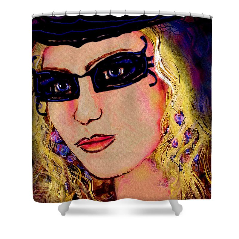 Portrait Shower Curtain featuring the mixed media Casablanca Girl by Natalie Holland