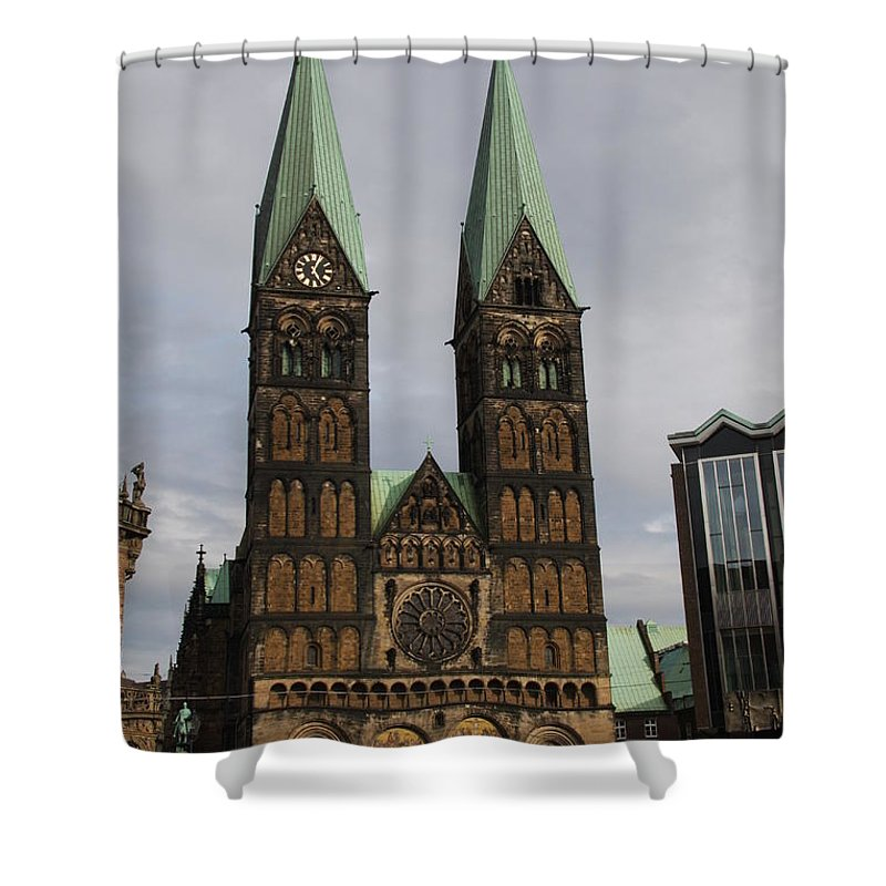 Cathedral Shower Curtain featuring the photograph Cathedral Bremen - Germany by Christiane Schulze Art And Photography