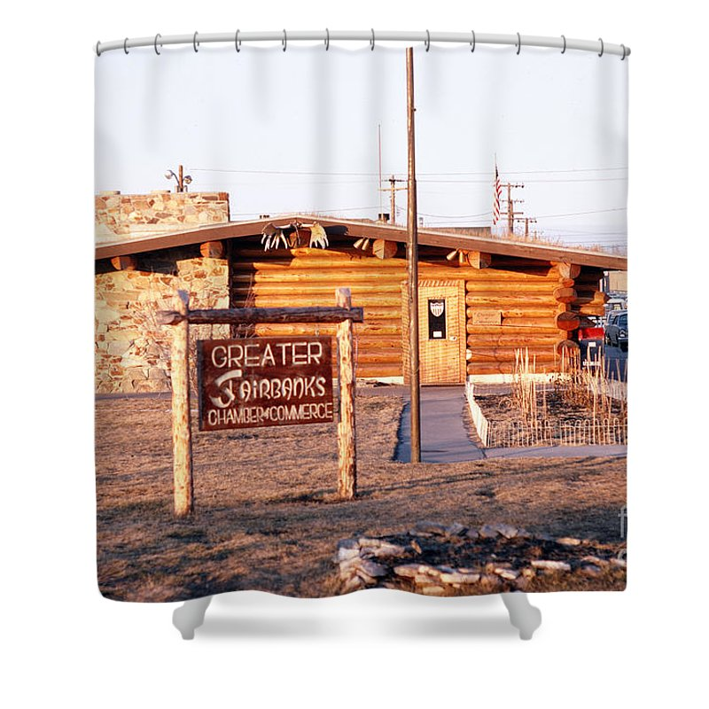 Fairbanks Shower Curtain featuring the photograph Chamber Of Commerce Log Cabin Fairbanks Alaska 1969 by California Views Archives Mr Pat Hathaway Archives