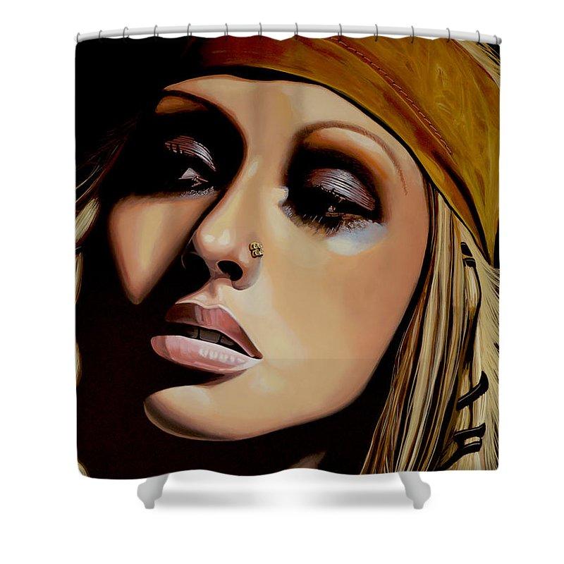 Christina Aguilera Shower Curtain featuring the painting Christina Aguilera Painting by Paul Meijering