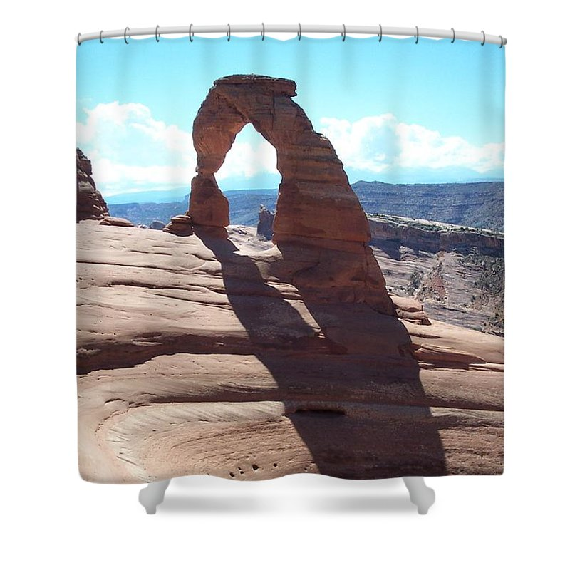 Arch Shower Curtain featuring the photograph Delicate Arch And Shadow by Christiane Schulze Art And Photography