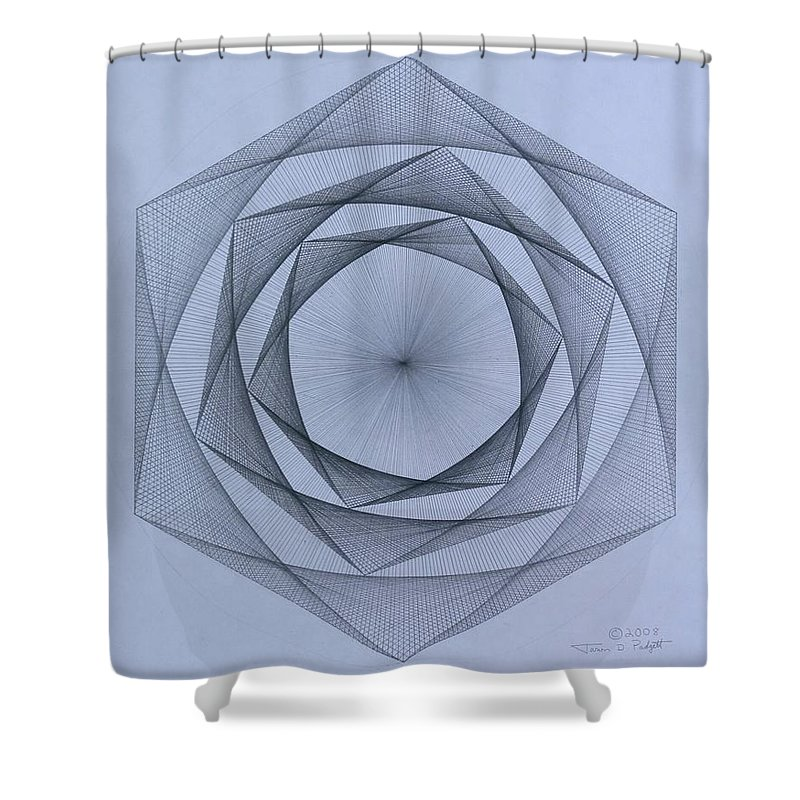 Jason Padgett Shower Curtain featuring the drawing  Energy Spiral by Jason Padgett