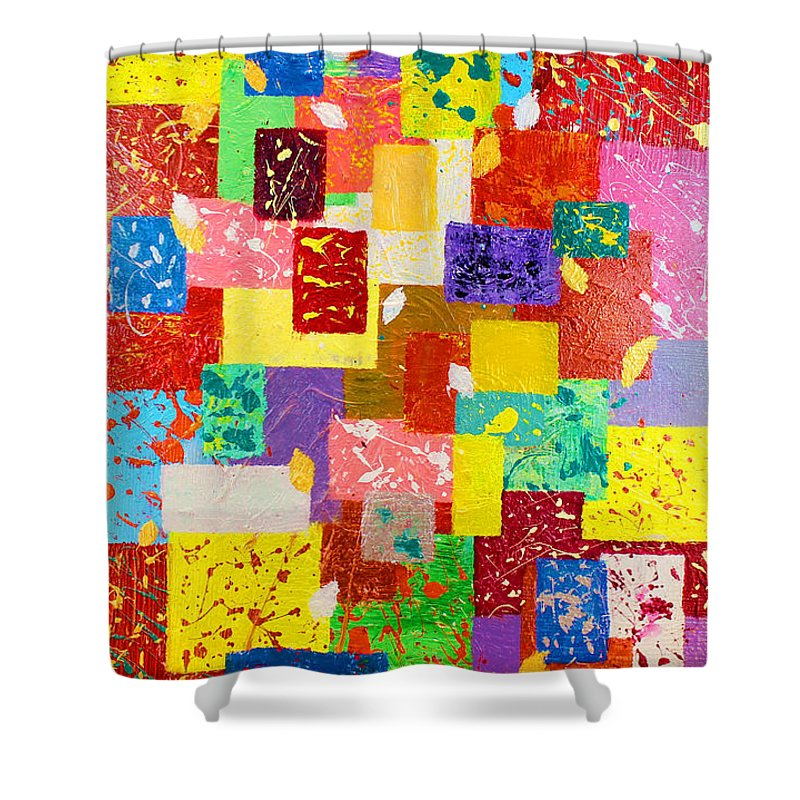 Abstract Shower Curtain featuring the painting Frame Of Mind by Julia Apostolova