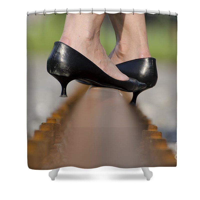 Woman Shower Curtain featuring the photograph High Heels Shoes On Railroad Tracks by Mats Silvan