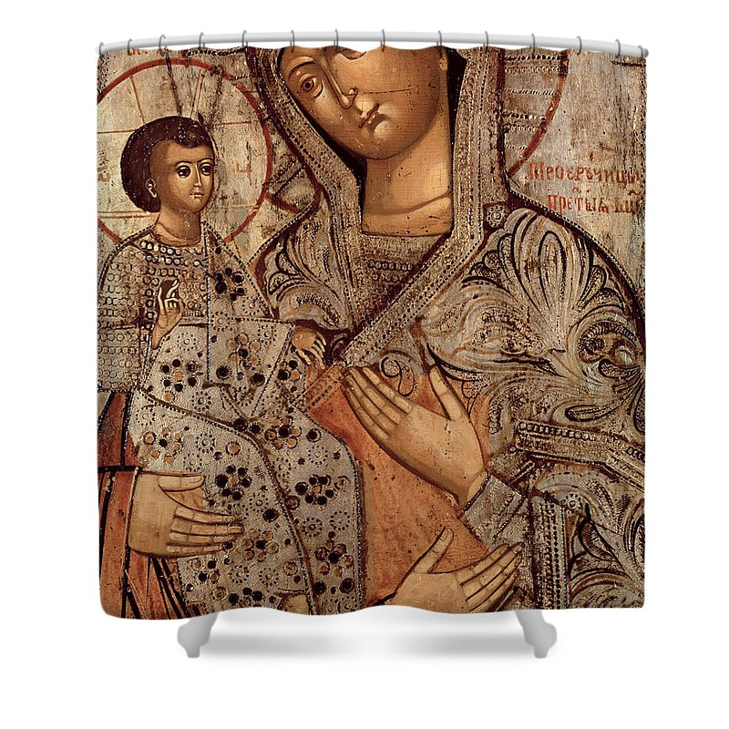 Halo Shower Curtain featuring the painting Icon Of The Blessed Virgin With Three Hands by Novgorod School