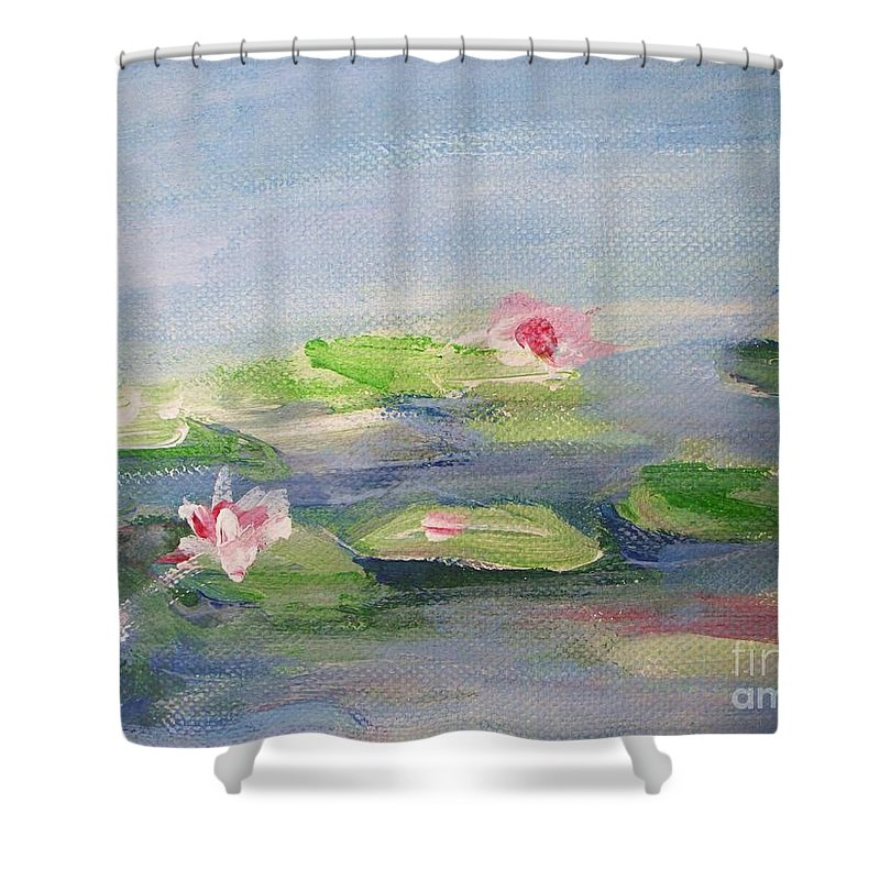 Photograph Shower Curtain featuring the painting Impressionistic Lilies Monet by Eric Schiabor