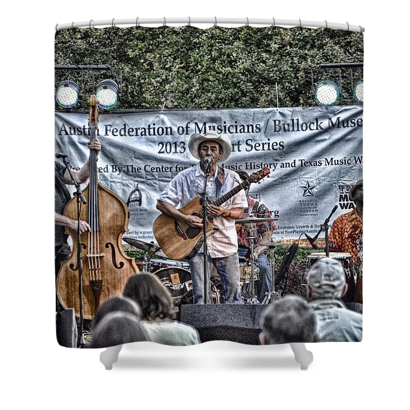 Austin Texas Music Print Shower Curtain featuring the photograph John Arthur Martinez Band by Kristina Deane