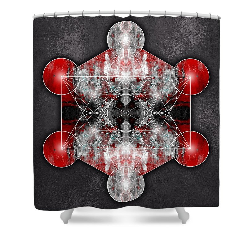 Mandala Shower Curtain featuring the photograph Metatron's Cube Red by Filippo B
