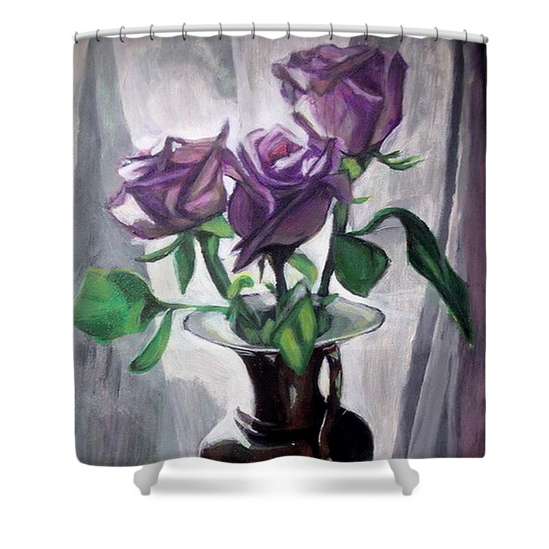 Rose Shower Curtain featuring the painting Morning Roses by Vera Lysenko
