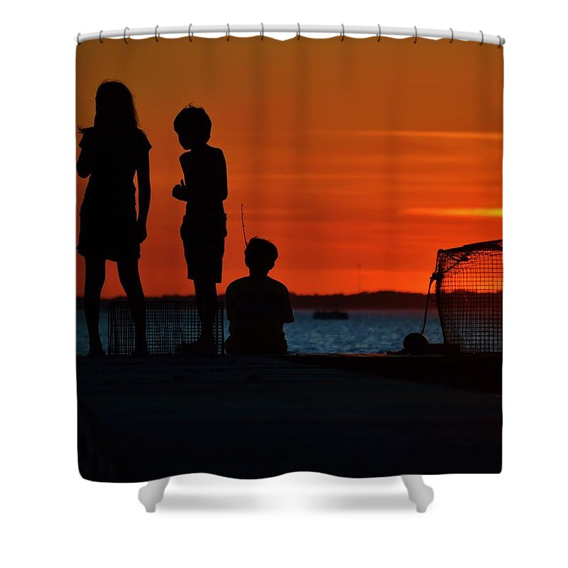 Beach Bum Pics Shower Curtain featuring the photograph Perfect Ending - 3 Friends On A Pier As The Hot Summer Sun Sets On The Indian River Bay by William Bartholomew