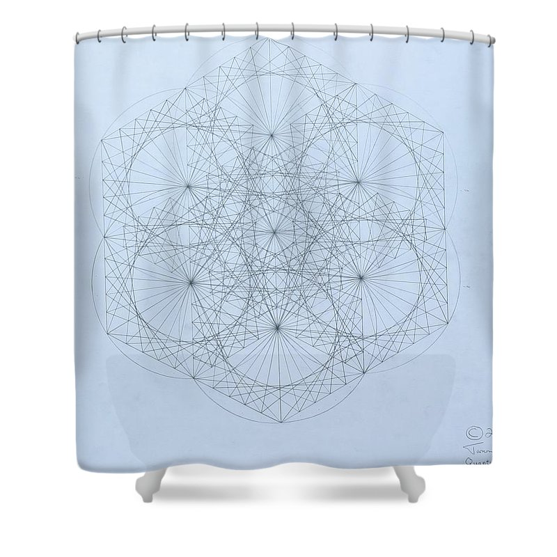 Jason Padgett Shower Curtain featuring the drawing Quantum Snowflake by Jason Padgett