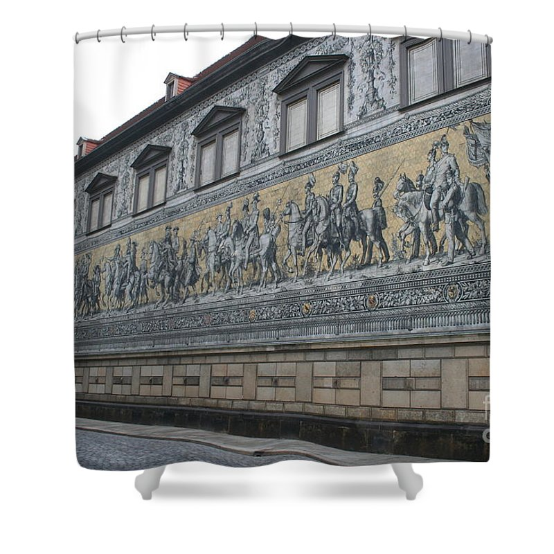 Fuerstenzug Shower Curtain featuring the photograph Saxon Sovereigns Depicted In Meissen Porcelain by Christiane Schulze Art And Photography