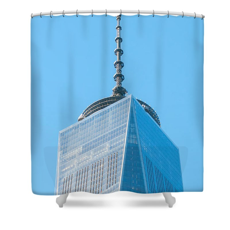 Freedom Shower Curtain featuring the photograph Scenery Near World Trade Center In New York C by Alex Grichenko