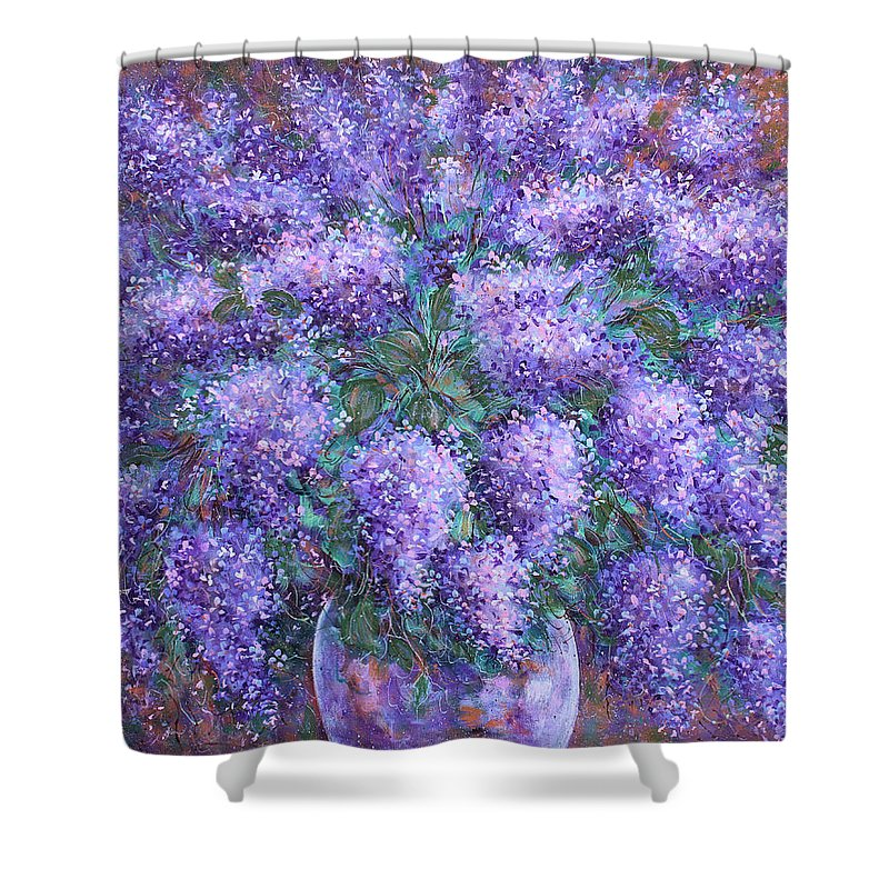 Flowers Shower Curtain featuring the painting Scented Lilacs Bouquet by Natalie Holland