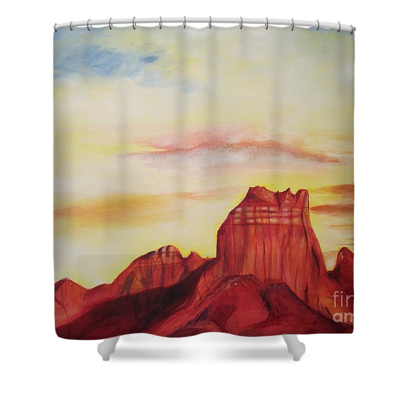 Western Shower Curtain featuring the painting Sedona Az by Eric Schiabor