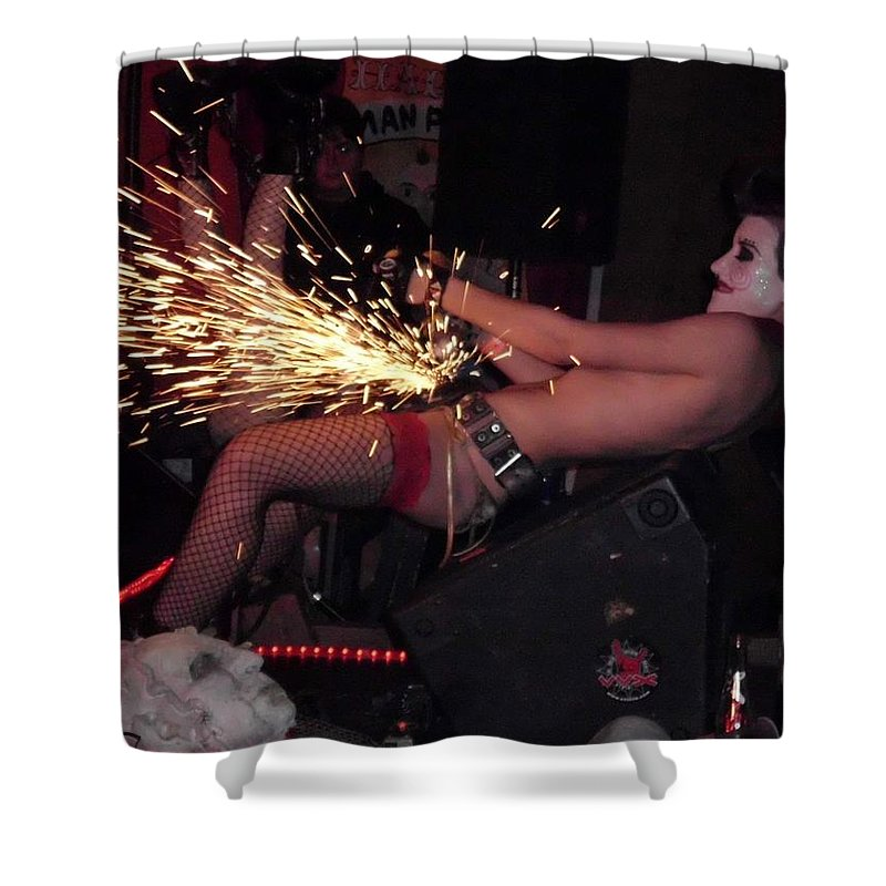 Burlesque Shower Curtain featuring the photograph Sparks Are Going To Fly by Sheryl Chapman Photography