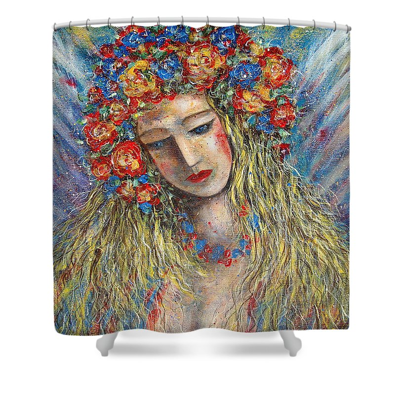 Painting Shower Curtain featuring the painting The Loving Angel by Natalie Holland