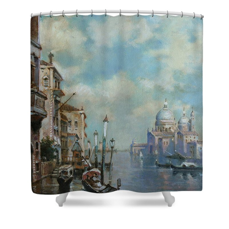 Urban Landscape Shower Curtain featuring the painting Venice At Noon by Robert Braginsky
