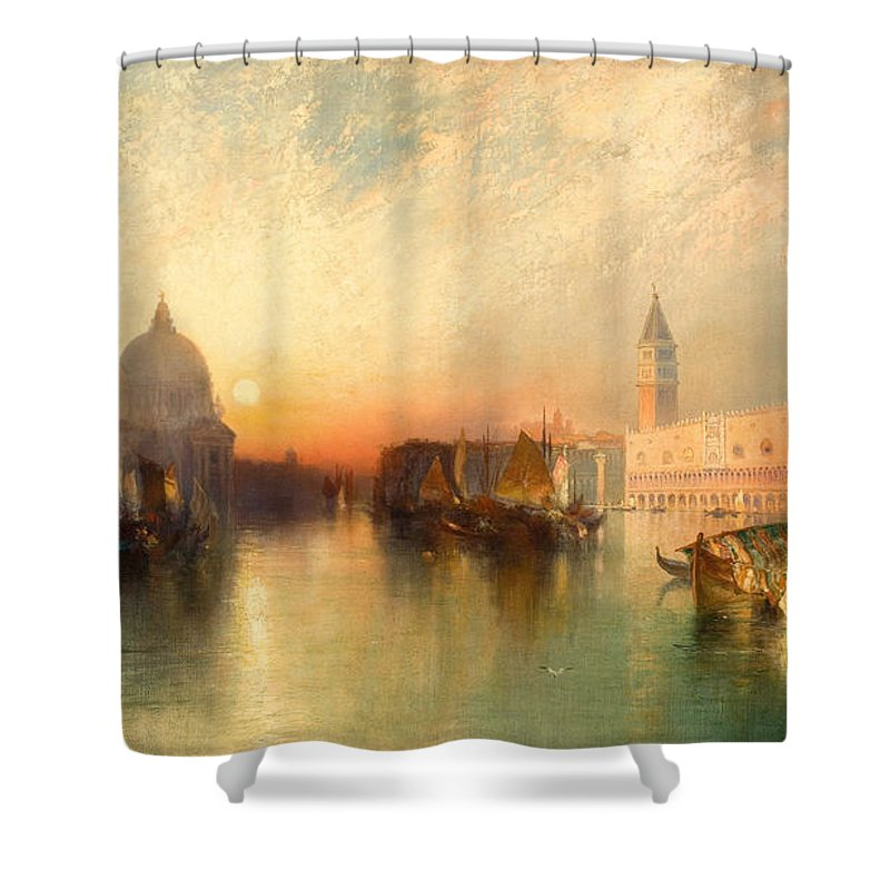 Venice Shower Curtain Featuring The Painting View Of By Thomas Moran