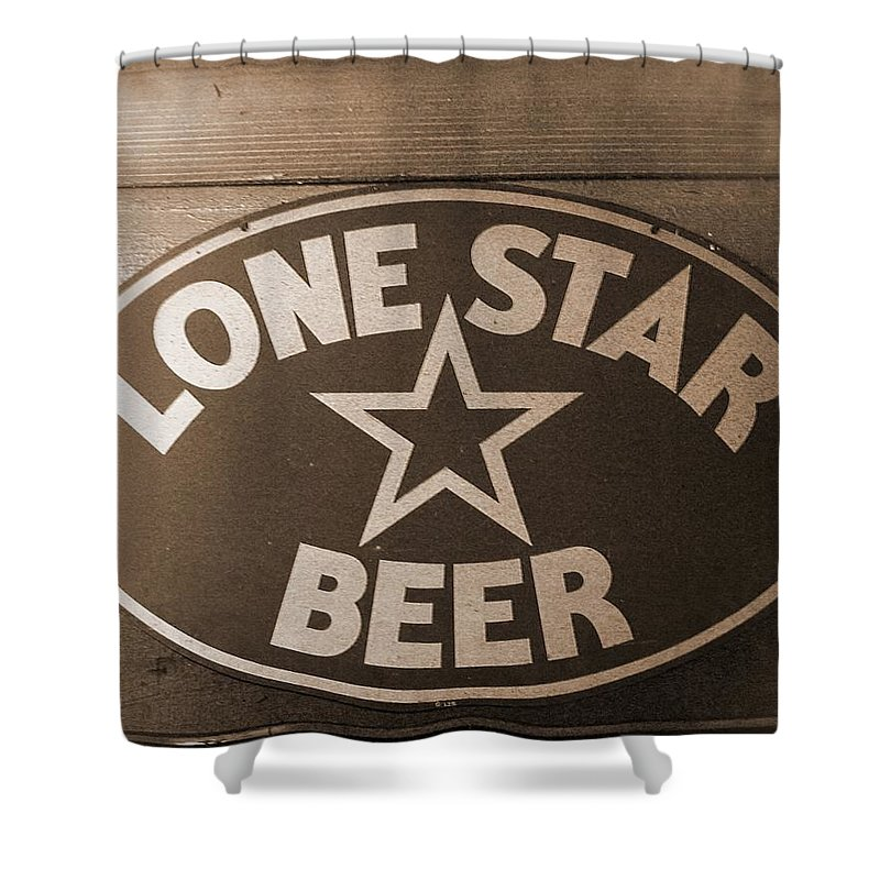 Lone Star Beer Shower Curtain Featuring The Photograph Vintage Sign By Terry Fleckney