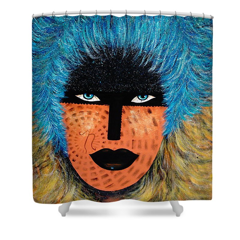 Woman Shower Curtain featuring the painting Viva Niva by Natalie Holland