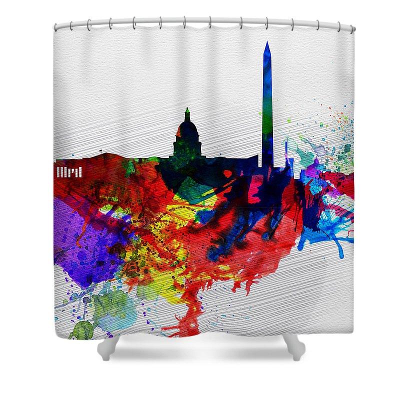 Washington Dc Shower Curtain featuring the painting Washington Dc Watercolor Skyline 1 by Naxart Studio