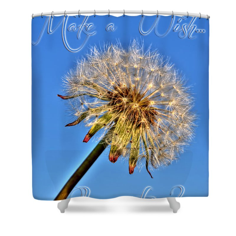 Taraxacum Shower Curtain featuring the photograph 002 Make A Wish With Text by Michael Frank Jr