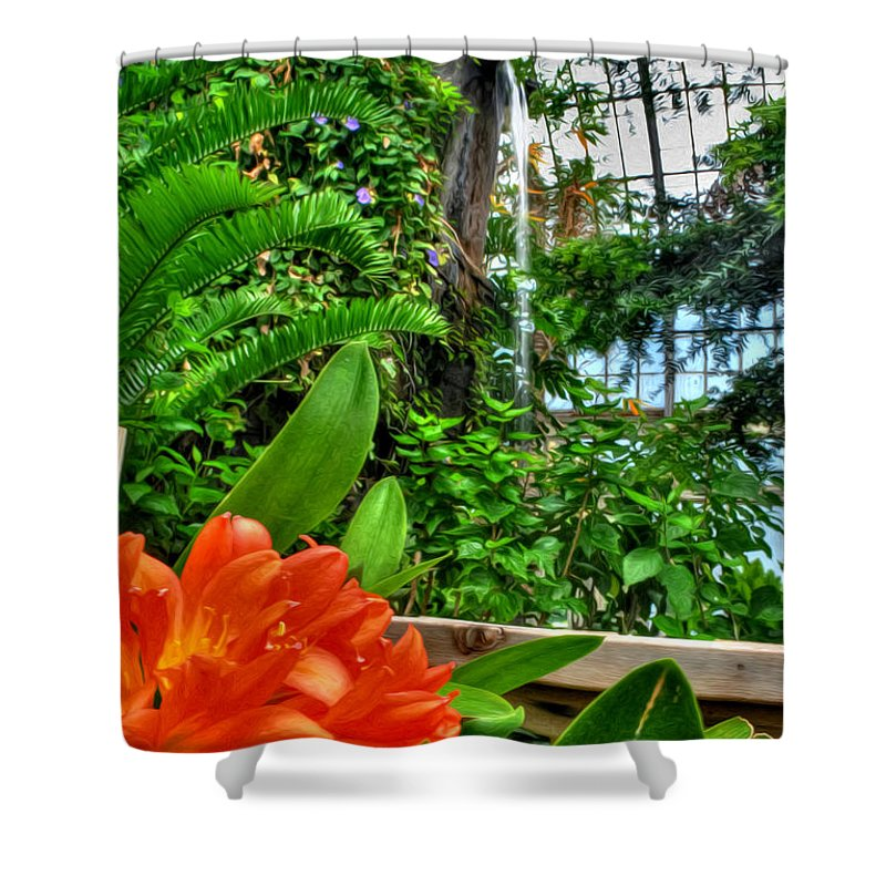 Buffalo Botanical Gardens Shower Curtain featuring the photograph 003 Falling Waters Buffalo Botanical Gardens Series by Michael Frank Jr