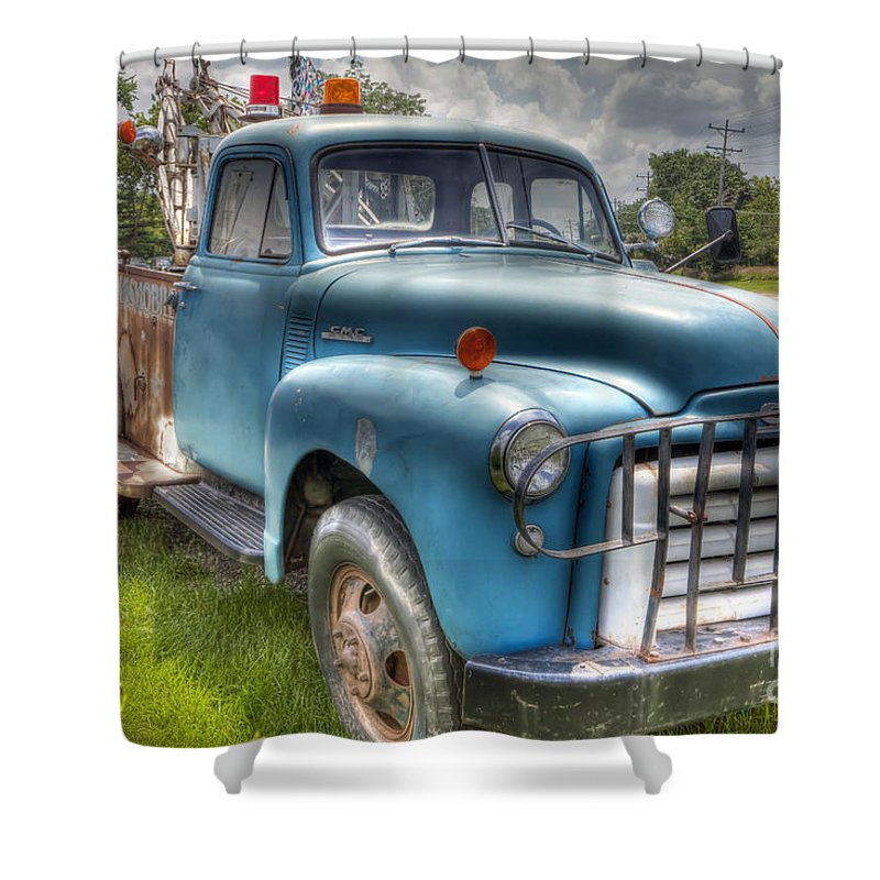 Truck Shower Curtain featuring the photograph 0042 Old Blue 2 by Steve Sturgill