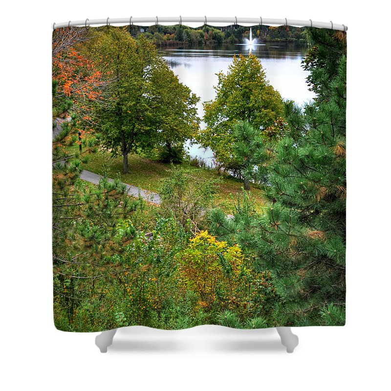 Autumn Shower Curtain featuring the photograph 008 Hoyt Lake Autumn 2013 by Michael Frank Jr