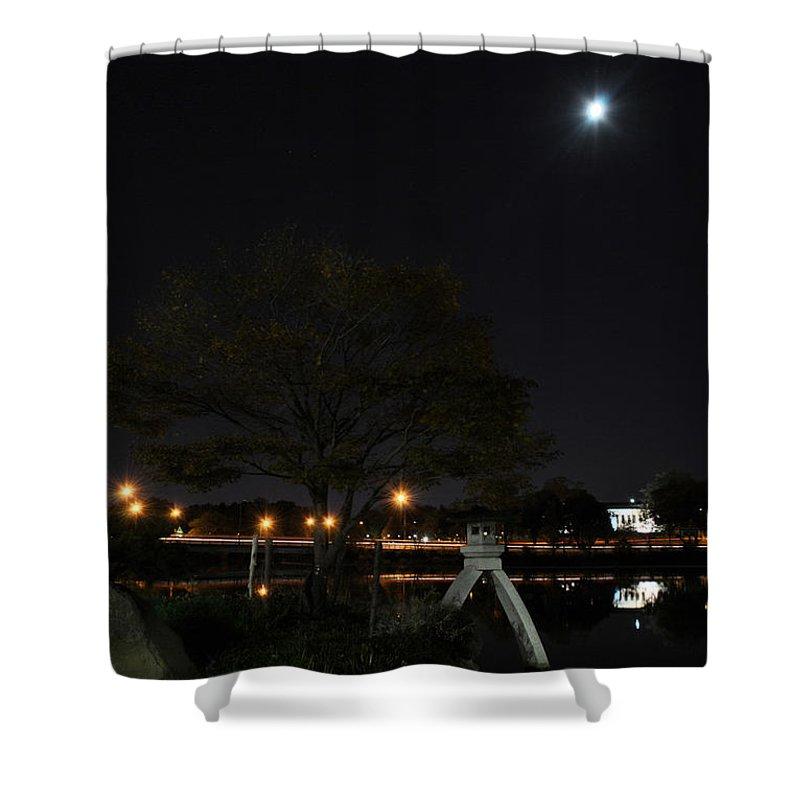 Garden Shower Curtain featuring the photograph 008 Japanese Garden Autumn Nights  by Michael Frank Jr