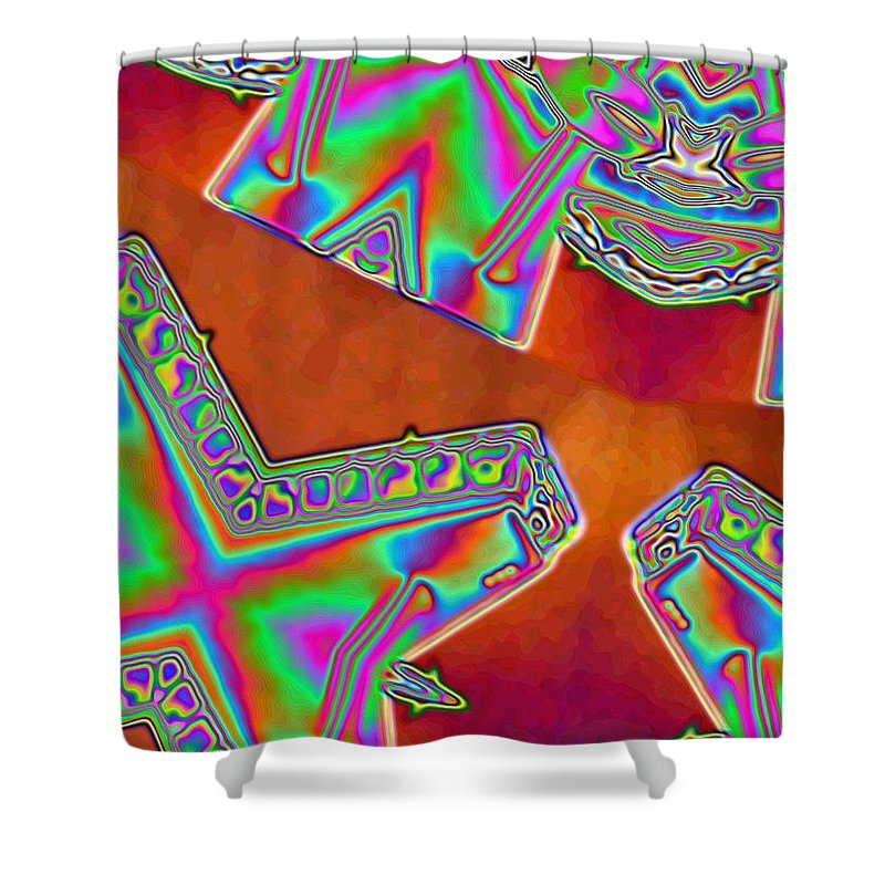 Red Shower Curtain featuring the digital art 01-11-2014 by John Holfinger