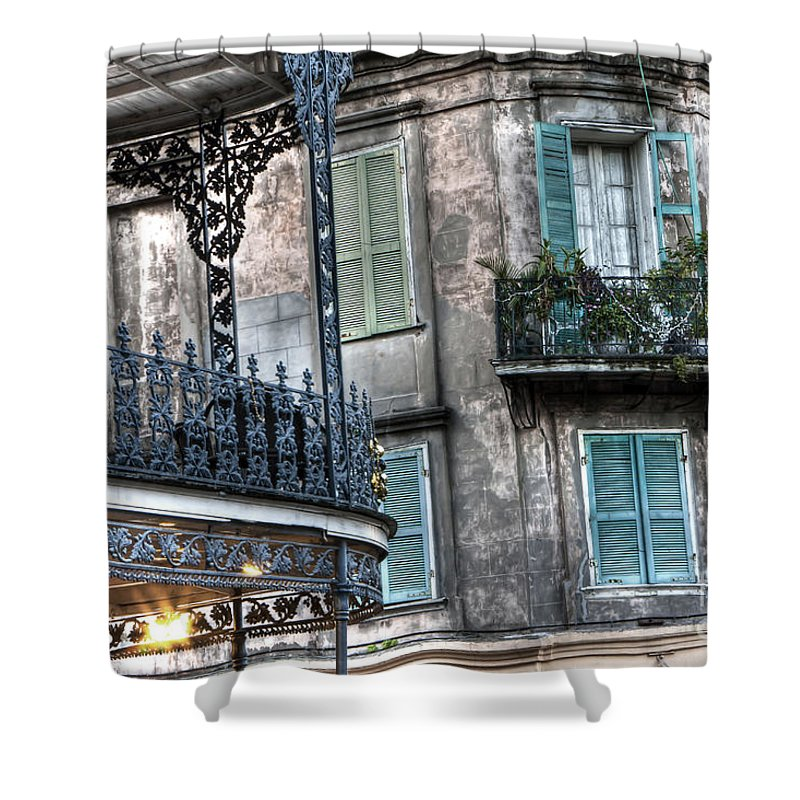 New Shower Curtain featuring the photograph 0275 New Orleans Balconies by Steve Sturgill