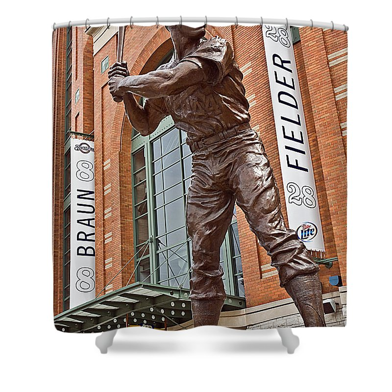 Milwaukee Shower Curtain featuring the photograph 0620 Hank Aaron Statue by Steve Sturgill