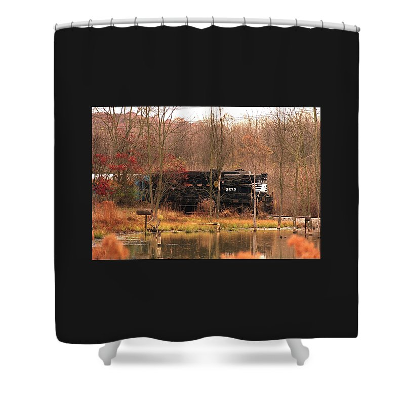 Train Shower Curtain featuring the photograph 080706-57 by Mike Davis