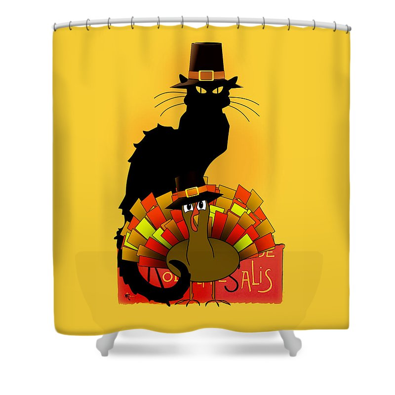 Thanksgiving Shower Curtain featuring the digital art Thanksgiving Le Chat Noir With Turkey Pilgrim by Gravityx9  Designs