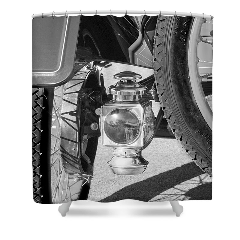 1911 Ford Model T Torpedo 4 Cylinder 25 Hp Taillight Shower Curtain featuring the photograph 1911 Ford Model T Torpedo 4 Cylinder 25 Hp Taillight by Jill Reger