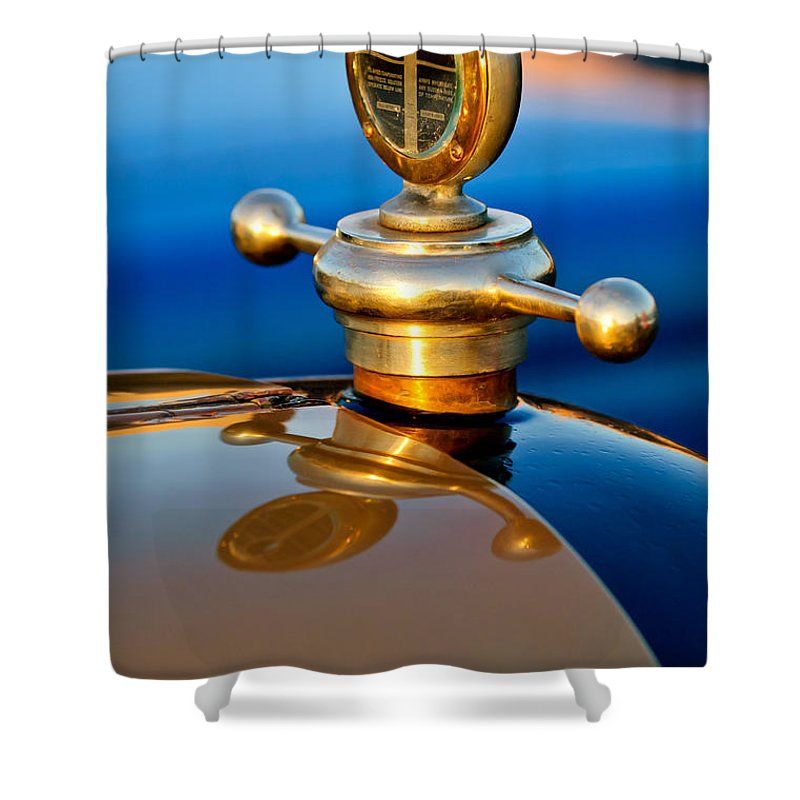 1922 Studebaker Touring Shower Curtain featuring the photograph 1922 Studebaker Touring Hood Ornament 3 by Jill Reger