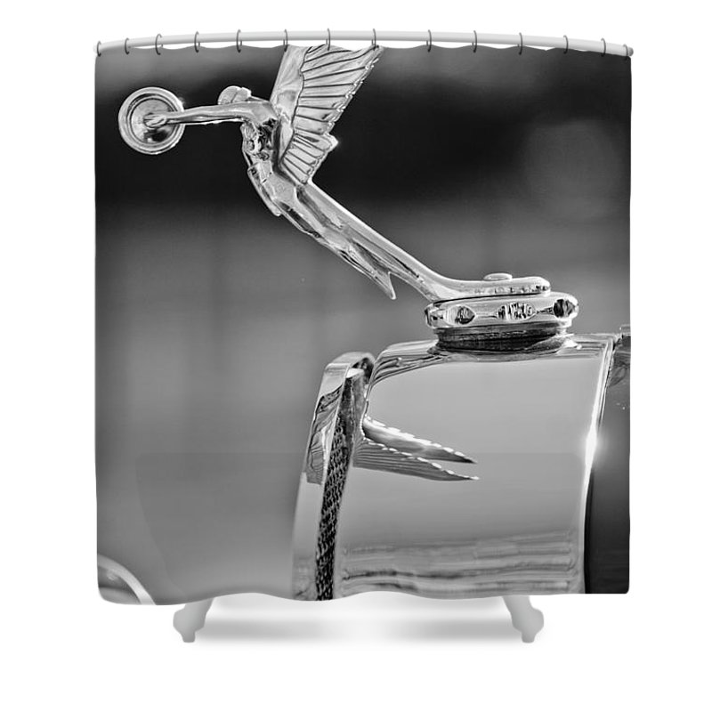 1927 Isotta-fraschini Tipo 8a Boat-tail Tourer Hood Ornament Shower Curtain featuring the photograph 1927 Isotta-fraschini Tipo 8a Boat-tail Tourer Hood Ornament by Jill Reger