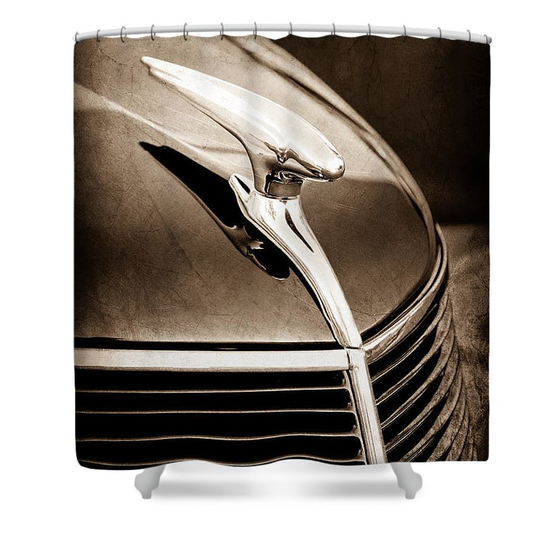 1937 Ford Hood Ornament Shower Curtain featuring the photograph 1937 Ford Hood Ornament by Jill Reger