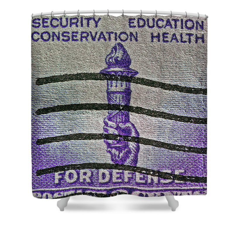 1940 For Defense Stamp Shower Curtain featuring the photograph 1940 For Defense Stamp by Bill Owen